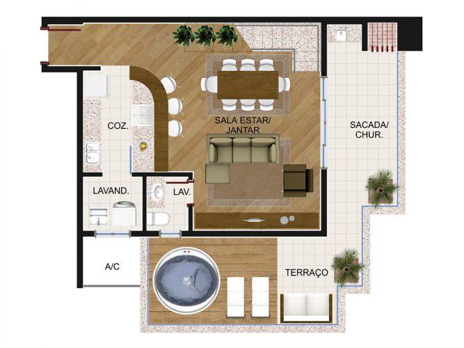 Cobertura Duplex 1 (piso inferior) - 8º pavimento