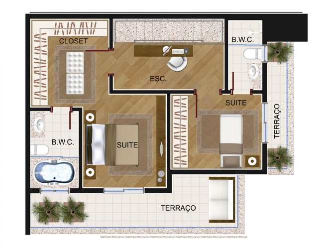Cobertura Duplex 1 (piso superior) - 8º pavimento